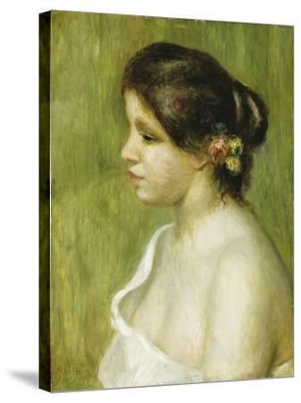 Bust of a Young Girl with Flowers Decorating Her Ear, 1898-Pierre-Auguste Renoir-Stretched Canvas Print