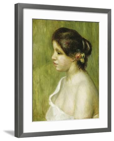 Bust of a Young Girl with Flowers Decorating Her Ear, 1898-Pierre-Auguste Renoir-Framed Giclee Print