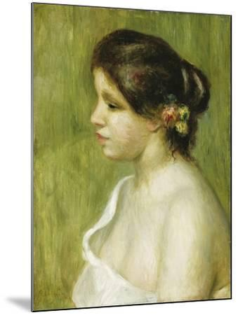 Bust of a Young Girl with Flowers Decorating Her Ear, 1898-Pierre-Auguste Renoir-Mounted Giclee Print
