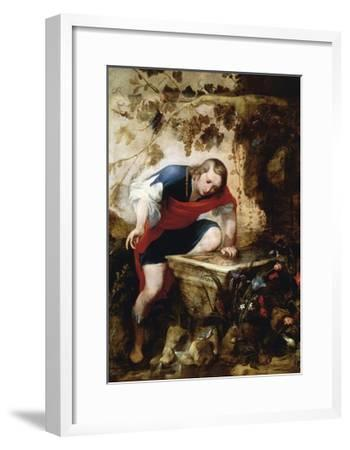 Narcissus Looking at His Reflection in a Fountain-Jan Roos-Framed Giclee Print