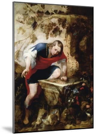 Narcissus Looking at His Reflection in a Fountain-Jan Roos-Mounted Giclee Print
