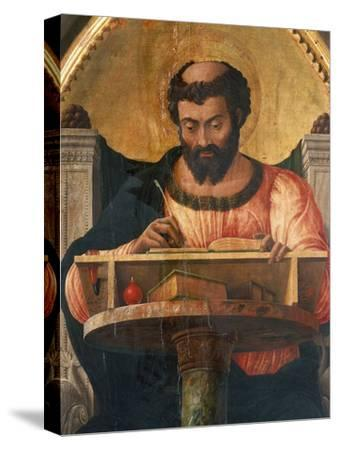 St Luke at His Desk, Detail from Altarpiece of St Luke-Andrea Mantegna-Stretched Canvas Print