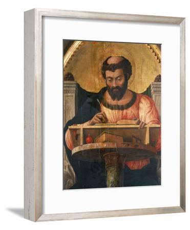 St Luke at His Desk, Detail from Altarpiece of St Luke-Andrea Mantegna-Framed Giclee Print