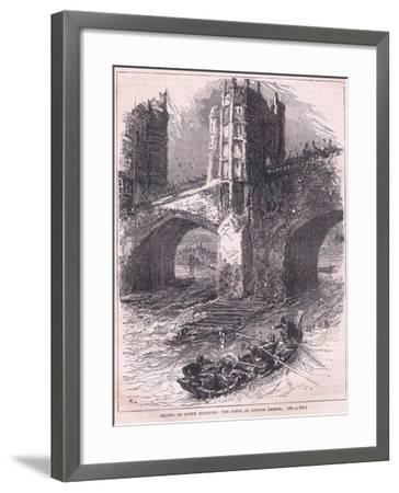 Flight of Queen Eleanor: Scene at London Bridge Ad 1263-Charles Ricketts-Framed Giclee Print