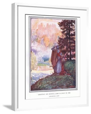 Christian and Hopeful Come in Sight of the Celestial City-John Byam Liston Shaw-Framed Giclee Print