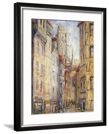 Rouen, a Street by the Church; Rouen, Rue Avec L'Eglise, C.1920-Gustave Loiseau-Framed Giclee Print