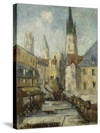 Rue De L'Epicerie Et La Cathedrale De Rouen, C.1929-Gustave Loiseau-Stretched Canvas Print
