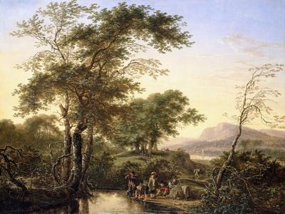 An Extensive Italianate River Landscape with Travellers by a Pool, 1646-Herman the Younger Saftleven-Framed Giclee Print