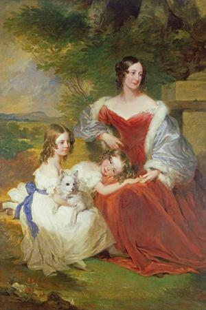 T32011 Portrait of Mrs Sarah Frances Cooper and Her Daughters-Frederick Richard Say-Stretched Canvas Print