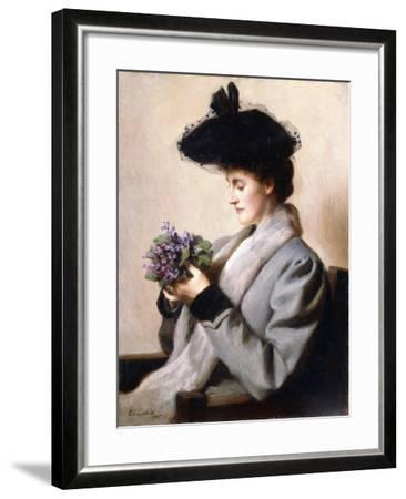 The Nosegay of Violets - Portrait of a Woman, 1905-William Worcester Churchill-Framed Giclee Print