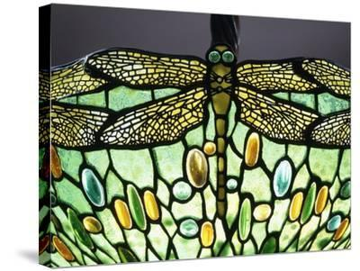 A 'Drophead Dragonfly' Leaded Glass and Bronze Table Lamp--Stretched Canvas Print