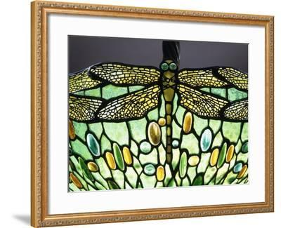 A 'Drophead Dragonfly' Leaded Glass and Bronze Table Lamp--Framed Giclee Print
