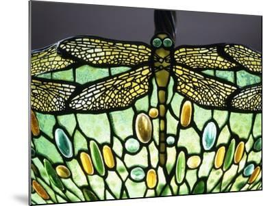 A 'Drophead Dragonfly' Leaded Glass and Bronze Table Lamp--Mounted Giclee Print