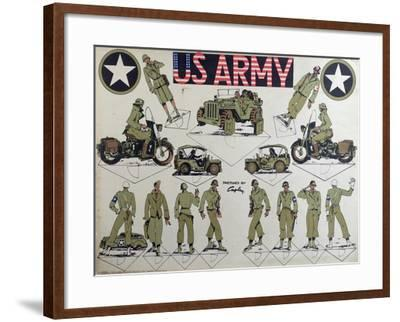 Cut-Outs of Us Army Figures and Vehicles, C.1944-45--Framed Giclee Print