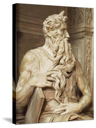 Moses, Detail from the Tomb of Julius II, Circa 1515-Michelangelo Buonarroti-Stretched Canvas Print