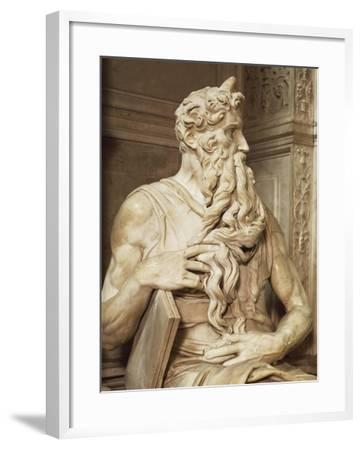 Moses, Detail from the Tomb of Julius II, Circa 1515-Michelangelo Buonarroti-Framed Giclee Print