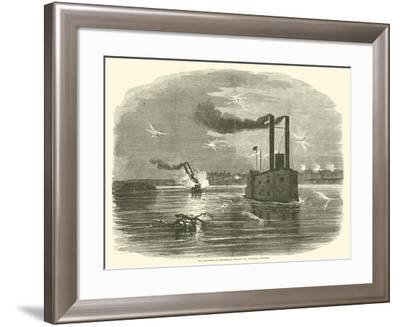 The Lancaster and Switzerland Running the Vicksburg Batteries, March 1863--Framed Giclee Print