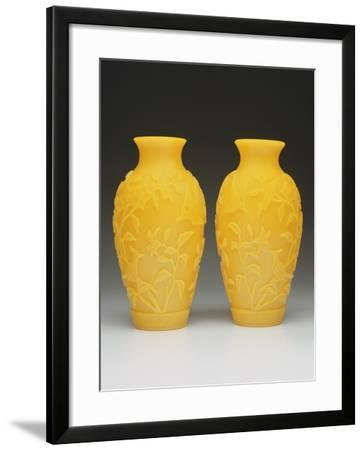Pair of Carved Beijing Vases, Qianlong Period, 1736-95--Framed Giclee Print