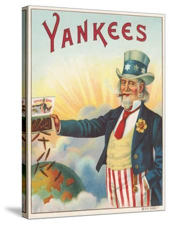 Yankees, Outer Cigar Box Label, Printed by Hermann Shott, C.1912--Stretched Canvas Print