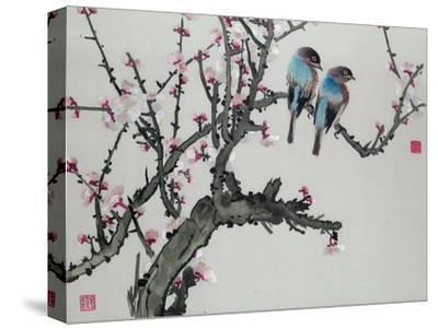 Pair of Birds on a Cherry Branch, Hunan Region, Republic Period--Stretched Canvas Print
