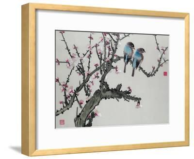 Pair of Birds on a Cherry Branch, Hunan Region, Republic Period--Framed Giclee Print