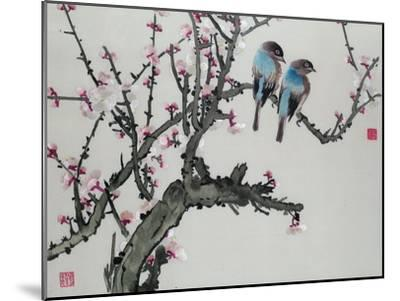 Pair of Birds on a Cherry Branch, Hunan Region, Republic Period--Mounted Giclee Print