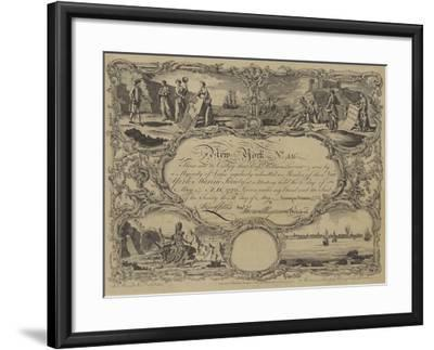 Membership Certificate of the New York Marine Society, 1773--Framed Giclee Print