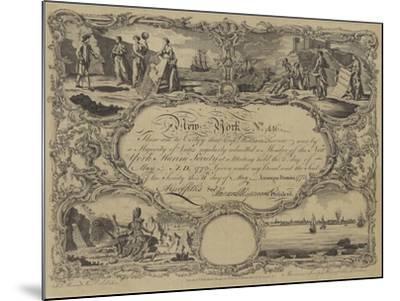 Membership Certificate of the New York Marine Society, 1773--Mounted Giclee Print