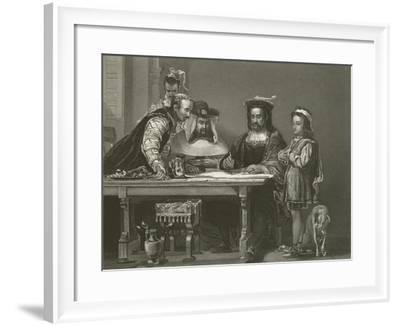 Columbus Planning the Discovery of America, 15th Century-Sir David Wilkie-Framed Giclee Print