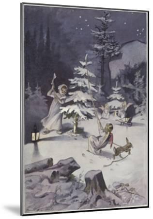 A Cherub Wields an Axe as They Chop Down a Christmas Tree--Mounted Giclee Print