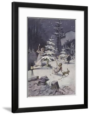 A Cherub Wields an Axe as They Chop Down a Christmas Tree--Framed Giclee Print
