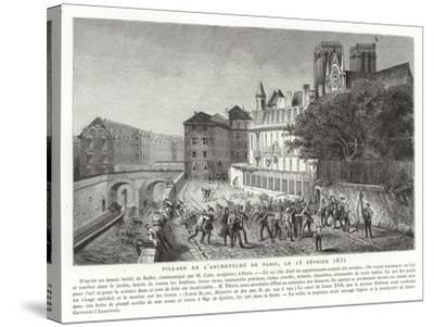 Looting of the Palace of the Archbishop of Paris, 15 February 1831--Stretched Canvas Print