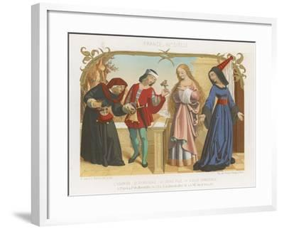Money Lender, Squire, a Young Woman and an Old Woman--Framed Giclee Print