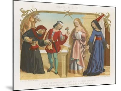 Money Lender, Squire, a Young Woman and an Old Woman--Mounted Giclee Print