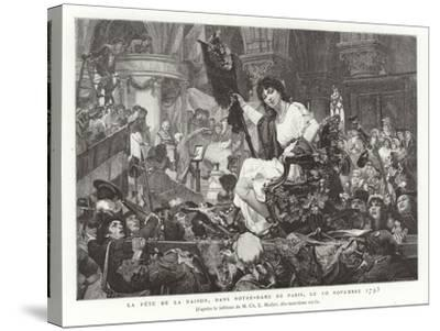 The Festival of Reason in Notre Dame De Paris, 10 November 1793--Stretched Canvas Print