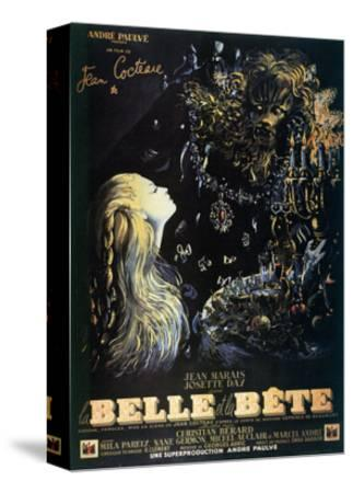 Poster for the Jean Cocteau Film 'La Belle Et La Bete', 1946--Stretched Canvas Print