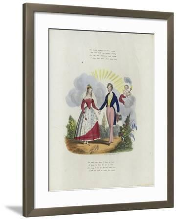 British Valentine Card with an Image of a Man and a Woman Holding Hands--Framed Giclee Print