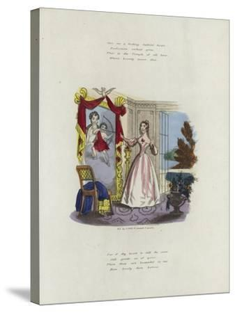 British Valentine Card with an Image of a Woman Looking in a Mirror--Stretched Canvas Print