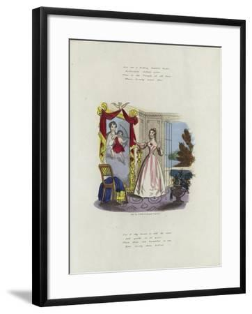 British Valentine Card with an Image of a Woman Looking in a Mirror--Framed Giclee Print