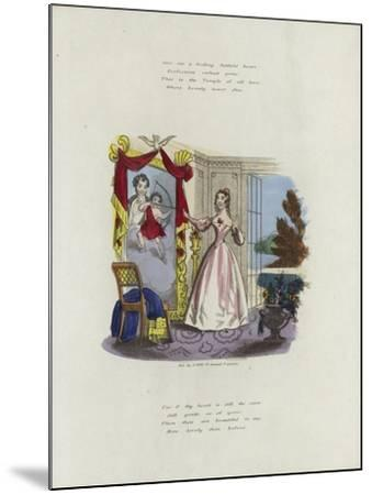 British Valentine Card with an Image of a Woman Looking in a Mirror--Mounted Giclee Print