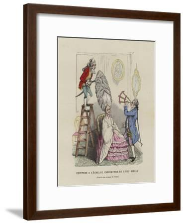 Caricature on French Women's Hairstyles of the 18th Century--Framed Giclee Print