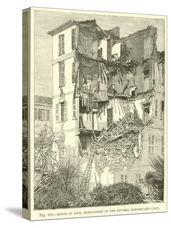 House in Nice, Demolished in the Riviera Earthquake, 1887--Stretched Canvas Print