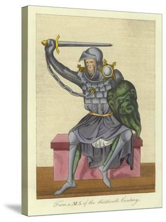 Knight, Possibly King, in Armour, from a Manuscript of the 13th Century--Stretched Canvas Print