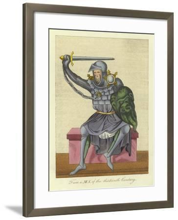 Knight, Possibly King, in Armour, from a Manuscript of the 13th Century--Framed Giclee Print