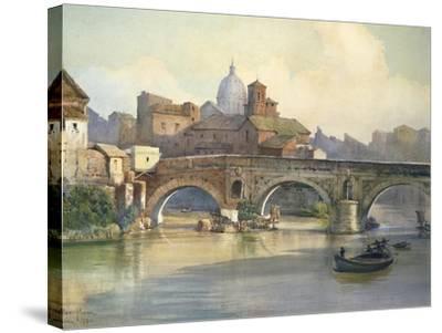 Tiber Island and Emilio Bridge in Rome from the Series Roma Sparita--Stretched Canvas Print