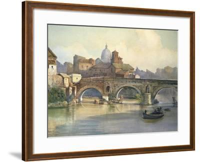 Tiber Island and Emilio Bridge in Rome from the Series Roma Sparita--Framed Giclee Print