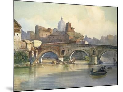 Tiber Island and Emilio Bridge in Rome from the Series Roma Sparita--Mounted Giclee Print