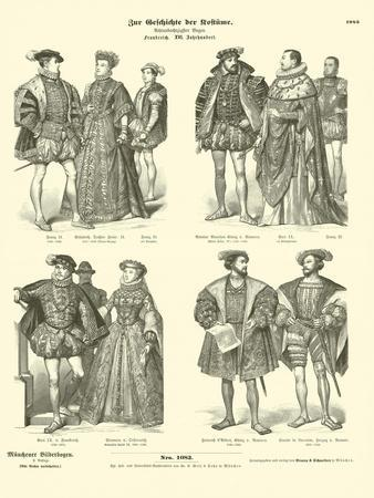Costume of French Royalty and Nobility, 16th Century--Framed Giclee Print