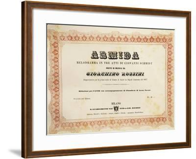 Reduced Piano and Vocal Score of 'Armida'--Framed Giclee Print
