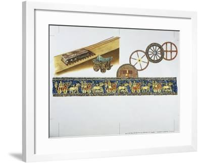 Reconstruction of the Wheel in Ancient Times, 1996--Framed Giclee Print